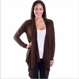 Sweaters - NWT Brown Waterfall Cardigan Sweater Sz Sm